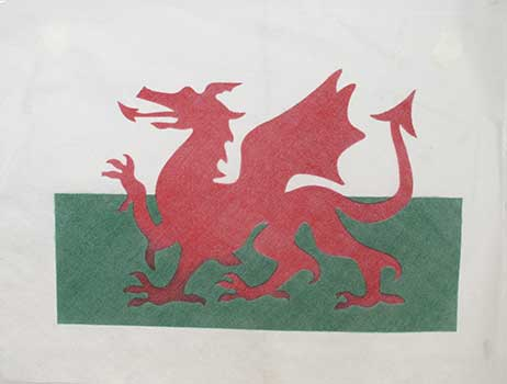 Welsh Dragon Farewell Flag - ashes water ceremony