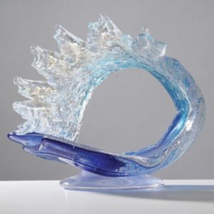 Memorial Glass Ocean Wave Tropic